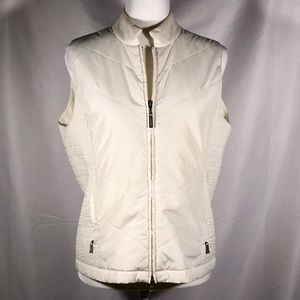 Ivory Chevron Quilted Vest with Silver Zippers